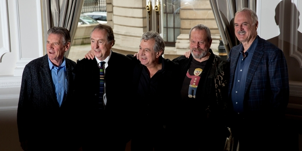 The surviving members of the Monty Python comedy group (from left) Michael Palin, Eric Idle, Terry Jones, Terry Gilliam and John Cleese prepare for their comeback show. Photo / AP