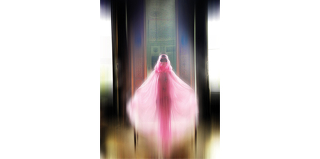 Burka - Undercover by Jun Takahashi, S/S 2003. Shocking pink sheer burka. Worn to Christian Dior, Haute Couture S/S 2003, Paris, January 2003. Model / Alexia Wight. Photo/ Nick Knight.