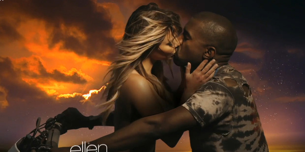 Kanye West and Kim Kardashian in the video for Bound 2.
