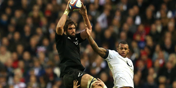 Sam Whitelock was the All Blacks' top jumper with four takes and was also the top tackler. Photo / Getty Images