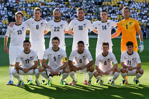 New Zealand players pose for a team photo during leg 2 of the FIFA World Cup Qualifier match between the All Whites and Mexico. Photo / Getty Images