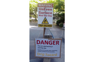 My daughter spotted a warning sign of a warning sign at Massey University in Palmerston North, says Trish.