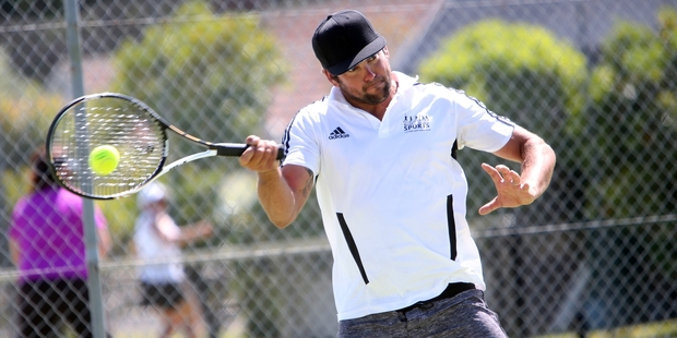 Steven King competing in the Olly Batger Doubles Tournament at Mairtown Tennis Club on Saturday. Photo/Michael Cunningham.