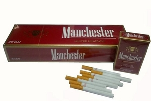 Manchester brand cigarettes are illegally smuggled into Australia, carry no health warnings and sell for as little as A$6.