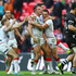 Sam Burgess of England celebrates scoring his sides third try during the Rugby League World Cup Semi Final. Photo / Getty Images