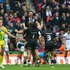 Shaun Johnson of New Zealand celebrates converting the winning try with the last kick of the game during the Rugby League World Cup Semi Final. Photo / Getty Images