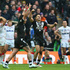 Shaun Johnson (C) of New Zealand celebrates converting the winning try with the last kick of the game during the Rugby League World Cup Semi Final. Photo / Getty Images