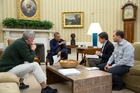 US President Barack Obama met chief of staff Denis McDonough and deputy national security advisers Tony Blinken and Ben Rhodes in the Oval office. Photo / Pete Souza, White House