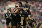 An ecstatic Shaun Johnson celebrates with his teammates after the semifinal win.  Photo / Getty Images