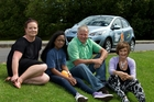 Courtanay Gray (left) from Kidney Kids support with patient Jamie Peters, 12, and charity committee members Chris Stephens and Heidi Heyman and the car which will get charity workers around the country. Photo / Brett Phibbs