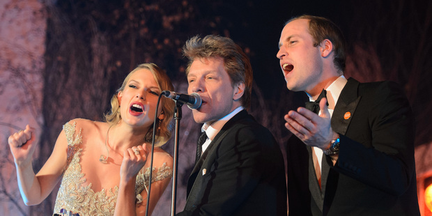 Loading Britain's Prince William, sings with Taylor Swift, and Jon Bon Jovi at the Centrepoint Gala Dinner at Kensington Palace. Photo / AP