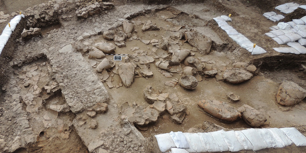 The ruins of a recently discovered wine cellar in a Canaanite palace that dates back to approximately 1700 B.C. Photo / AP