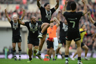 Issac Luke of New Zealand celebrates victory during the Rugby League World Cup Semi Final match between New Zealand and England. Photo / Getty Images.