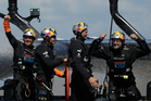 Oracle Team USA skippered by James Spithill celebrates after they beat Emirates Team New Zealand. Photo / Getty Images.