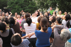 Hanoi's morning laughter session. Photo / Pamela Wade