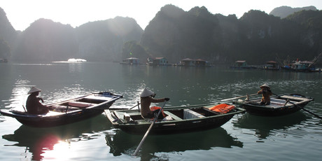 In spectacular Halong Bay, the people of the floating villages live as they have done for centuries. Photo / Pamela Wade
