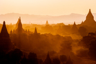 Temples in the moody light of early evening in Bagan, Myanmar.