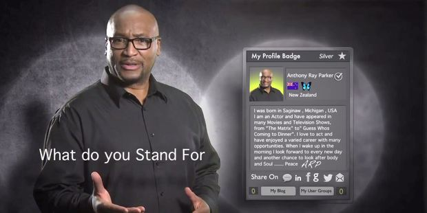 Anthony Ray Parker appearing in a YouTube video for the RealStew internet start-up business.
