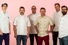 Chefs cooking at Big Day Out. (L-R) Kyle Street, Ben Bayly, Che Barrington, Nic Watt, Sam Campbell and Javier Carmona. Photo / HOS