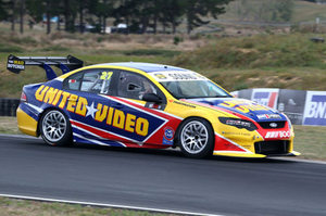 Craig Baird driving the United Video Falcon at Hampton Downs. Photo / Lance Hastie