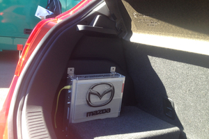 Mazda2 EV showing rotary range extender unit. Photo / Supplied