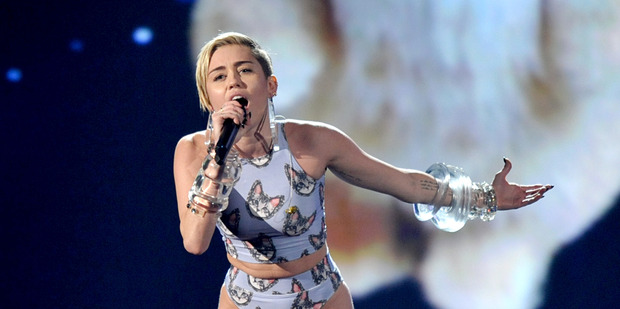 Miley Cyrus performing at the American Music Awards. Photo / AP