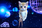 Miley Cyrus performs on stage at the American Music Awards in front of a giant space kitty. Photo / AP