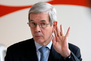 PSA Peugeot Citroen Chief Executive Philippe Varin gestures, during a news conference in Paris. Photo / AP