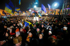Demonstrators take to the streets in support of Ukraine's integration with the European Union in the center of Kiev, Ukraine. Photo / AP