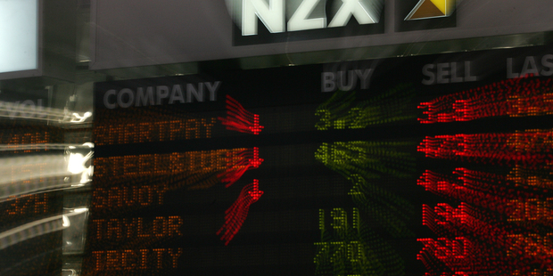 New Zealand stock exchange display board in the foyer of Quay Towers in central Auckland. Photograph / Brett Phibbs