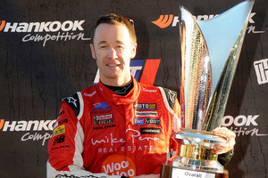 Greg Murphy on the podium at the V8 SuperTourers round in Taupo . Photo / Supplied