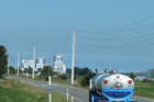 A Fonterra tanker delivers milk to the Clandeboye factory - the site of a chemical leak today. Photo / APN