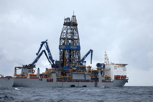 The drillship Noble Bob Douglas in the preparation stages for drilling. Photo / Greenpeace