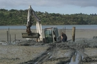 Another digger and two tractors were needed to free this digger from the sandy mudflats at Parua Bay yesterday.