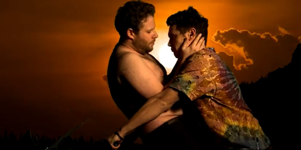 Seth Rogen and James Franco in their Bound 3 video.