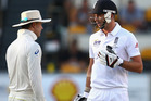 Michael Clarke of Australia and James Anderson of England exchange words. Photo / Getty Images