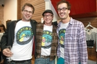 The Cryptid Factor team (from left) Leon 'Buttons' Kirkbeck, Rhys Darby and David Farrier.
