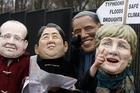 Climate activists protest in the guises of Francois Hollande, Shinzo Abe, Barack Obama and Angela Merkel. Photo / AP