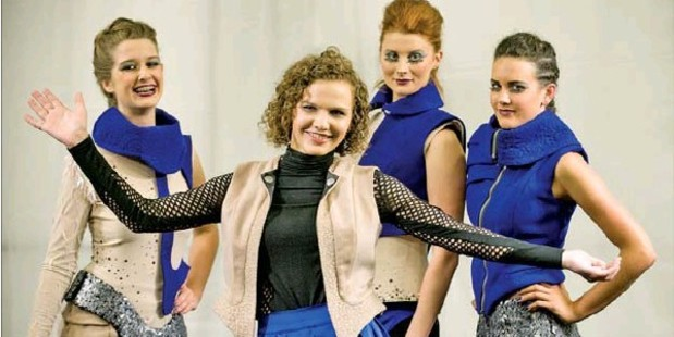 DRAMATIC TOUCH: Overall supreme student Tessa Paayman (centre) played up the drama in her collection, TheDayAftertheFuture.