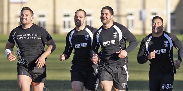 Jared Waerea-Hargreaves, Simon Mannering, Jesse Bromwich and Alex Glenn train at the rugby league World Cup. Photo / Getty Images