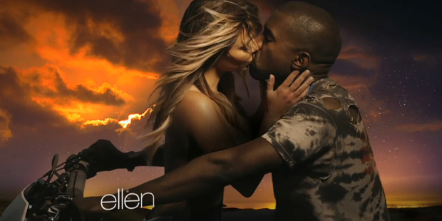 Kim Kardashian and Kanye West in a still from the Bound 2 video.