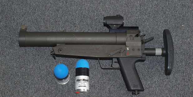 The sponge round is designed to be fired from a 40mm gas launcher. Photo / NZ Police