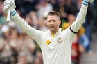 Australia's captain Michael Clarke celebrates yet another century during the second Ashes test against England. Photo / AP