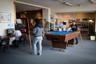 Sailors play pool at the Seafarers Centre. Photo / Sarah Ivey