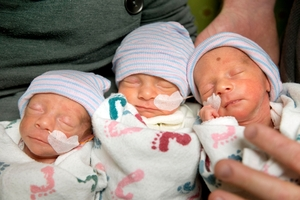 Identical triplets (from left) Abby, Laurel and Brindabella Hepner are shown to the world. Photo / AP