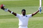 West Indies batsman Darren Bravo acknowledges the crowd after scoring a double century in Dunedin yesterday. Photo / Getty Images