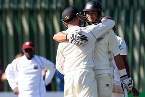 Century twins Ross Taylor and Brendon McCullum. Photo / Getty Images