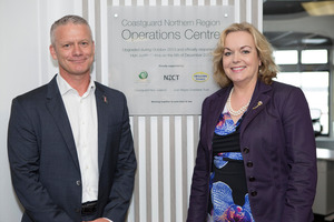 Coastguard northern region CEO, David Tommas and Hon Judith Collins.