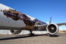 Air New Zealand's newly painted Hobbit-themed plane. Photo / Richard Robinson