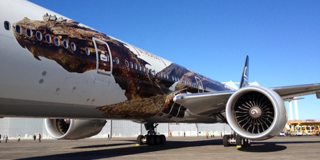 Air New Zealand's newly painted Hobbit-themed plane. Photo / Richard Robinson